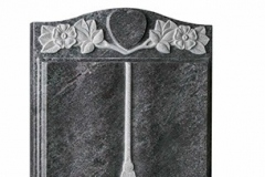 "Carved wild roses surround a heart ideal for a phot or carved initial - shown in bahama blue granite.headstone 30"" (h) x 24"" (w) x 4"" (d)Base 4"" (h) x 30"" (w) x 12"" (d)Product code -  16091"
