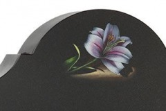 "One of our many flower designs available is this beautifully hand painted lily - shown in black granite.Headstone 30"" (h) x 24"" (w) x 4"" (d)Base 4"" (h) x 30"" (w) x 12"" (d)Product code - 16044"