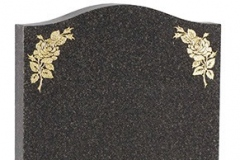 The rose designs on this headstone are inlaid with 23.5ct gold leaf - shown in dark grey granite. Product code - 16019