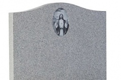 This monochrome image of Jesus is one of many laser etched designs available - shown in abbey grey granite. Product code - 16011