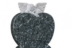 "The classic carved angel and heart design memorial remains a fitting and poignant memorial - shown in blue pearl granite.headstone 24"" (h) x 18"" (w) x 3"" (d)Base 3"" (h) x 24"" (w) x 12"" (d)Product code -  16159"