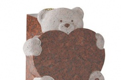 "Teddy bears have always been a comfort for children. This heart and vase rest incorporates the teddy as its central feature - shown in ruby red granite.tablet 12"" (h) x 12"" (w) x 2"" (d)vase rest 10"" (h) x 5"" (w) x 5.25'/8"" (d)Base 2"" (h) x 12"" (w) x 12"" (d)Product code -  16169"