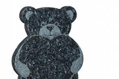 "A sandblast teddy and heart memorial - shown in blue pearl granite.headstone 22"" (h) x 16"" (w) x 2"" (d)Base 2"" (h) x 18"" (w) x 12"" (d)Product code -  16182"