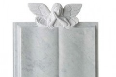 "An intircately carved angel resting over a book style memorial - shown in carrara marble.headstone 30"" (h) x 24"" (w) x 4"" (d)Base 4"" (h) x 30"" (w) x 12"" (d)Product code -  16130"