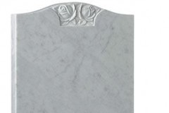 "The traditional 'ogee' shaped headstone is enhanced by the beautifully carved rose design - shown in carrara marble.headstone 27"" (h) x 21"" (w) x 3"" (d)Base 3"" (h) x 24"" (w) x 12"" (d)Product code -  16131"