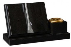 "A sloping book with cors and tassel together with a vase and base- shown in black granite.  Vase 4"" (h) x 6"" (w) x 6"" (d)  Base 2"" (h) x 23"" (w) x 9"" (d)  Product code -  16199"