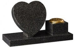 "Heart tablet and vase design - shown in dark grey granite.  tablet 12"" (h) x 12"" (w) x 2"" (d)  rest 7"" (h) x 4"" (w) x 3"" (d)  vase 4"" (h) x 6"" (w) x 6"" (d)  base 2"" (h) x 23"" (w) x 9"" (d)  Product code -  16201"