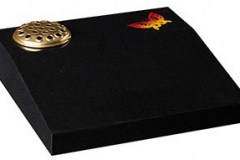 "A cremation desk featuring a butterfly blasted and painted ornament, you may wish to substitute your own design - shown in dense black granite.  desk 18"" (h) x 18"" (w) x 4/2"" (d)  Product code - EC257"