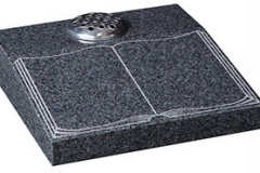 "An etched book design - shown in dense glenaby grey granite.  desk 4-2"" (h) x 18"" (w) x 18"" (d)  Product code -  16189"