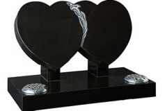 "A double heart features a carved and highlighted - shown in black granite.tablet 16"" (h) x 28"" (w) x 3"" (d)rest 12"" (h) x 6"" (w) x 3"" (d)Base 3"" (h) x 30"" (w) x 15"" (d)Product code -  16106"