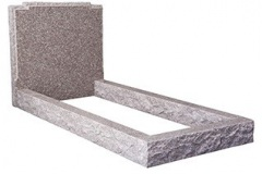 "The natural pitched edges of the headstone follow the contours of the check shoulders. the pitched edges are continued along the kerbs - shown in alpine brown granite. Overall 36"" (h) x 36"" (w) x 78"" (d) Product code - 16087"