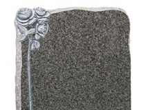 "A hand carved and highlighted rose contrasts the natural pitched edges of the headstone - shown in dark grey granite.Headstone 27"" (h) x 21"" (w) x 3"" (d)Base 3"" (h) x 24"" (w) x 12"" (d)Product code - 16056"