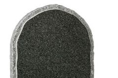 "A half round headstone with pitched sides and margins around the polished face - shown in dark grey granite.Headstone 27"" (h) x 21"" (w) x 3"" (d)Base 3"" (h) x 24"" (w) x 12"" (d)Product code - 16064"