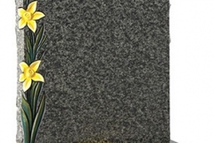 "The carved and painted daffodils create a contrast to the rustic headstone and base - shown in jade green granite.Headstone 27"" (h) x 21"" (w) x 3"" (d)Base 3"" (h) x 24"" (w) x 12"" (d)Product code - 16060"