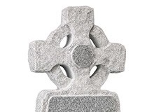 "A traditional celtic wheel cross creates an imposing headstone - shown in lunar grey granite.Headstone 39"" (h) x 21"" (w) x 4"" (d)Base 4"" (h) x 24"" (w) x 12"" (d)Product code - 16071"