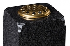 "Square vase with moulded corners - shown in dark grey granite.8"" (h) x 8"" (w) x 8"" (d)Product code -  16202"