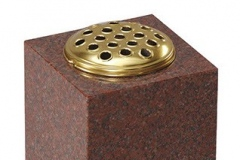 "Square vase - shown in ruby red granite.7"" (h) x 7"" (w) x 7"" (d)Product code -  16206"